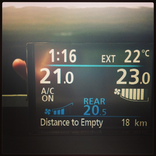 Yes, we had less than 20 kms until empty. Not. My. Fault.