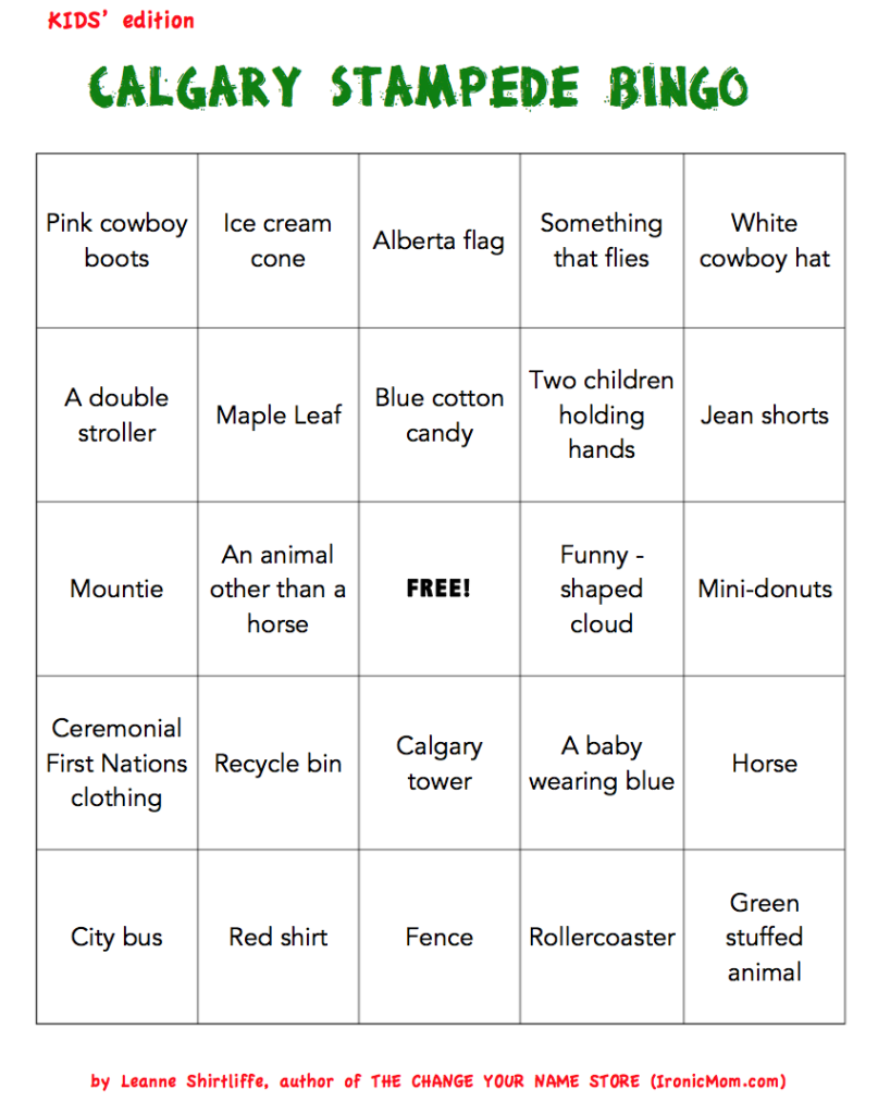 Calgary Stampede Bingo Kids