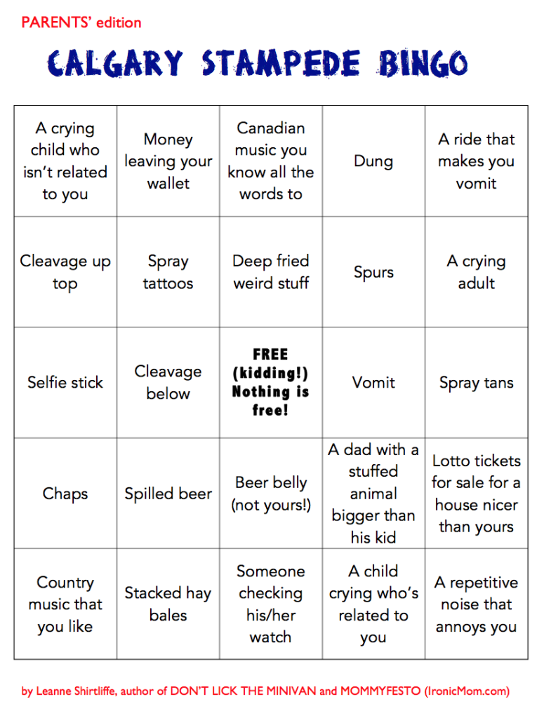 Calgary Stampede Bingo Parents